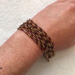 Jewelry - Brown & Iridescent Mulit-Strand Beaded Bracelet